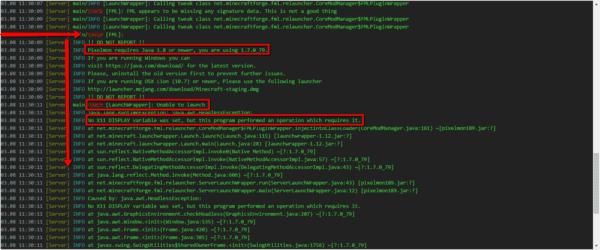 minecraft server console errors