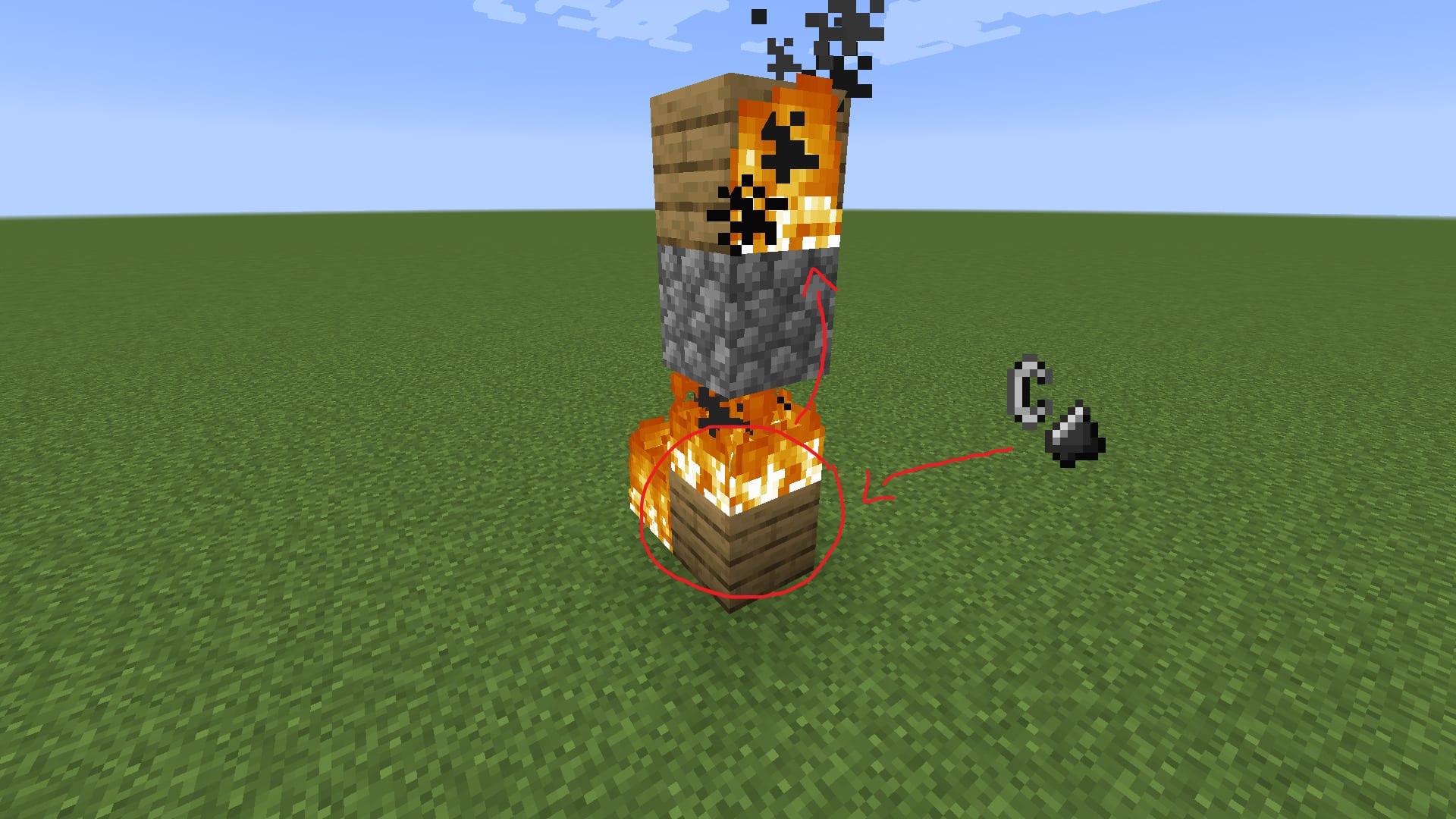 wood burning through cobble