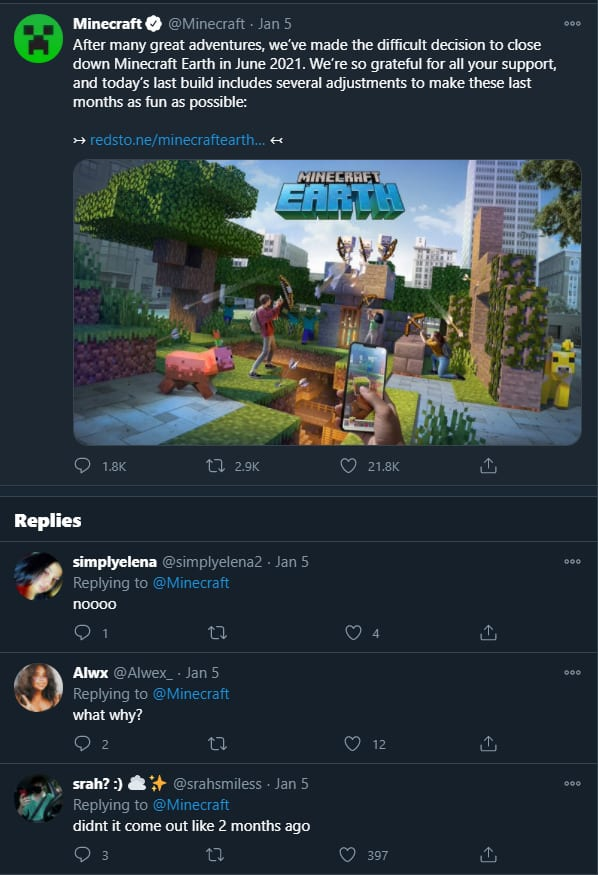 minecraft earth deleted